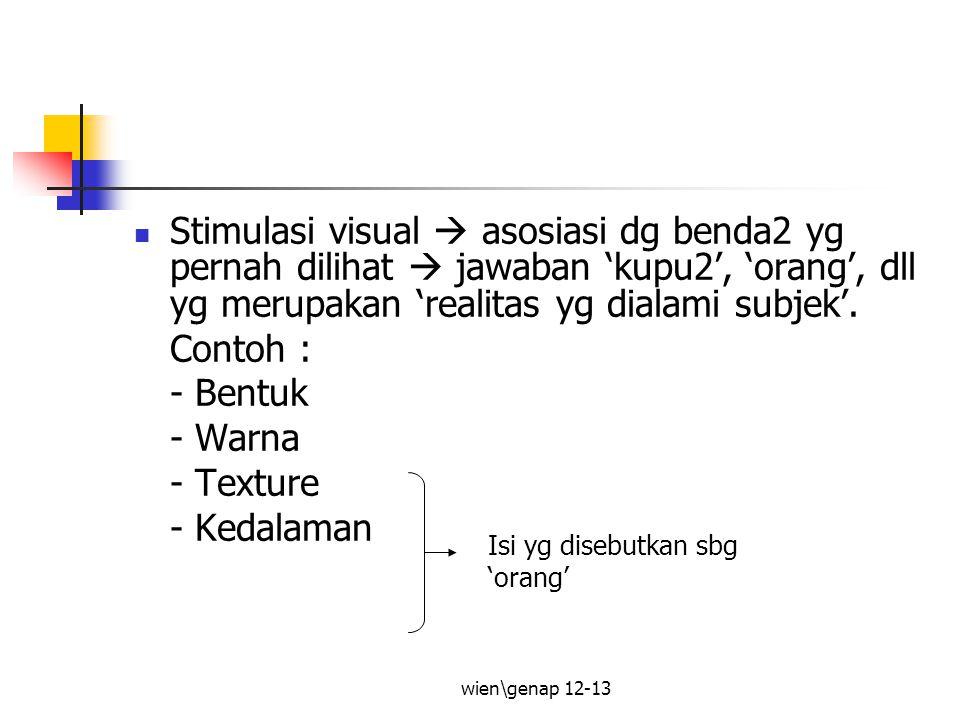 wien\genap 12-13 Stimulasi visual  asosiasi dg benda2 yg pernah dilihat  jawaban 'kupu2', 'orang', dll yg merupakan 'realitas yg dialami subjek'. Co