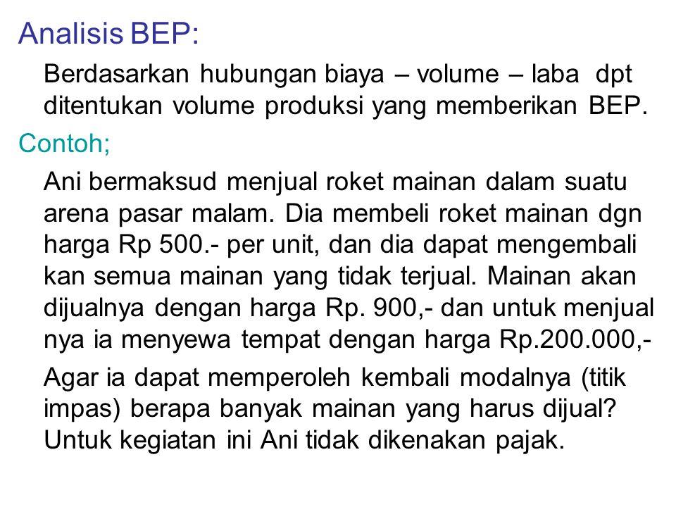 Analisis BEP: Berdasarkan hubungan biaya – volume – laba dpt ditentukan volume produksi yang memberikan BEP.