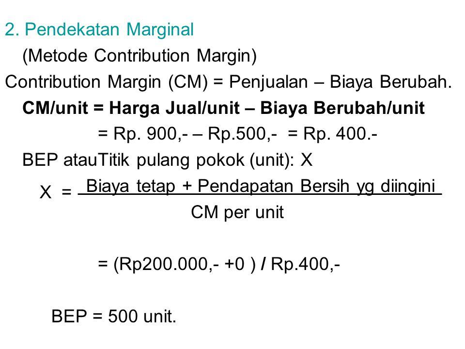 2. Pendekatan Marginal (Metode Contribution Margin) Contribution Margin (CM) = Penjualan – Biaya Berubah. CM/unit = Harga Jual/unit – Biaya Berubah/un