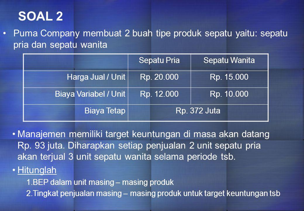 SOAL 1 Bryum company memproduksi 2 jenis produk Whistles & Bells dengan data sebagai berikut: WHISTLESBELLSTOTAL (Rp.) UNITJML (Rp.)UNITJML (Rp.) Penj