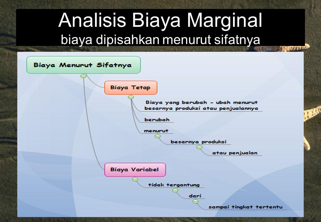 Analisis Biaya Marginal biaya dipisahkan menurut sifatnya