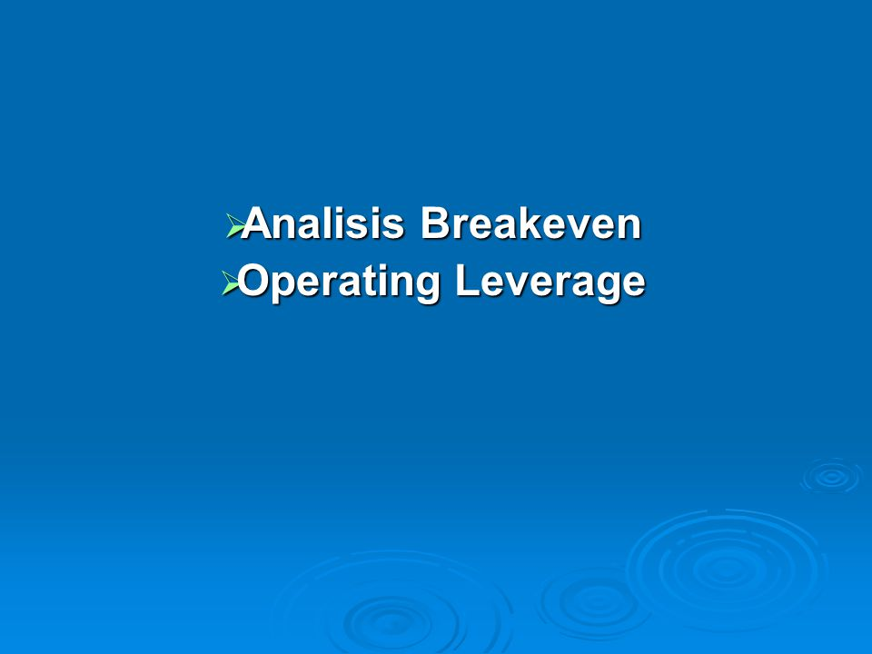  Analisis Breakeven  Operating Leverage