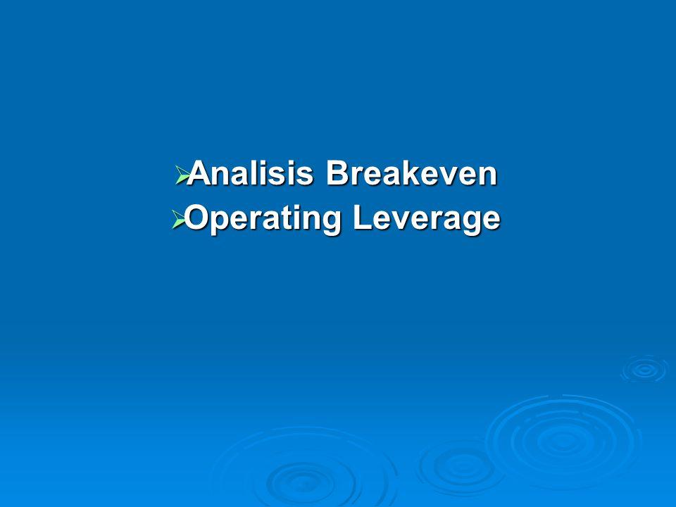 Analisis Breakeven (BEP) Analisis pulang pokok atau analisis impas (analisis Break Even)  Teknik analisis untuk mempelajari hubungan natara biaya, laba dan volume penjualan (Cost- Profit- Volume Analysis).