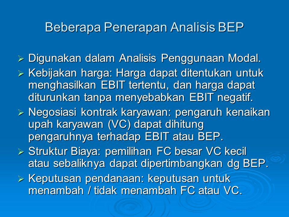 Beberapa Penerapan Analisis BEP  Digunakan dalam Analisis Penggunaan Modal.  Kebijakan harga: Harga dapat ditentukan untuk menghasilkan EBIT tertent