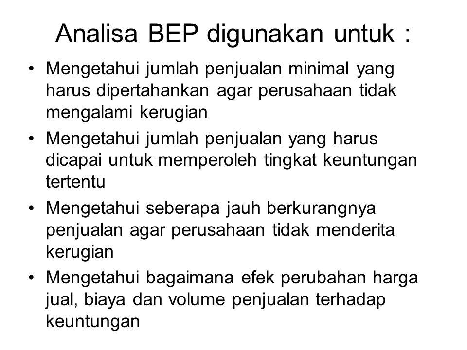 Analisa BEP digunakan untuk : Mengetahui jumlah penjualan minimal yang harus dipertahankan agar perusahaan tidak mengalami kerugian Mengetahui jumlah