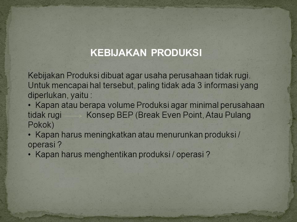 * BEP in Cash Untuk Multi Produk ( BEP In Cash Multi Produk ) (Pi – AVCi) CMP t =  Pi ( TFC – Penyusutan) BEP MULTI = CMP t BEP in Cash Untuk Satu Jenis Barang ( Single Product) ( TFC – Penyusutan ) (TFC – Penyusutan) Q BEP = Q Sales = (Pi – AVCi) ( 1 – AVCi / Pi)