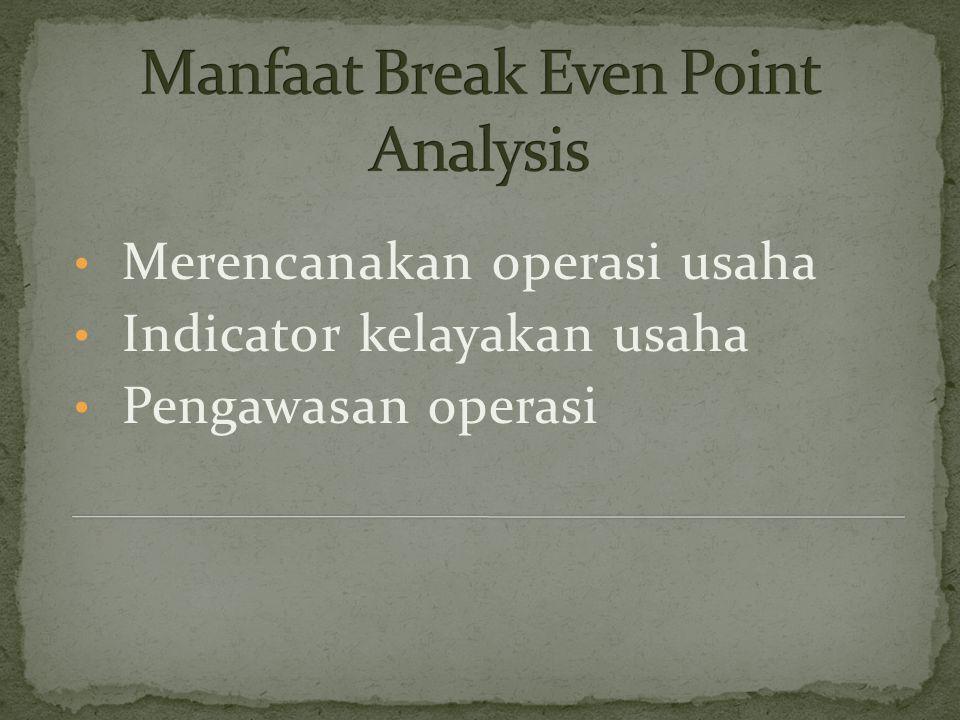 BEP (Break Event Point ) adalah titik ulang pokok, atau tingkat operasi produksi dimana perusahaan tidak mengalami kerugian, namun juga tidak mendapat
