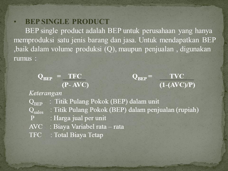 Dalam analisis BEP digunakan asumsi – asumsi dasar sebagai berikut : Semua barang yang diproduksi laku dijual Harga dan biaya produksi tetap bila harg