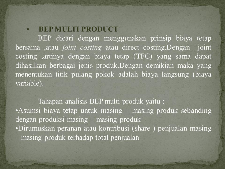 BEP MULTI PRODUCT BEP dicari dengan menggunakan prinsip biaya tetap bersama,atau joint costing atau direct costing.Dengan joint costing,artinya dengan biaya tetap (TFC) yang sama dapat dihasilkan berbagai jenis produk.Dengan demikian maka yang menentukan titik pulang pokok adalah biaya langsung (biaya variable).