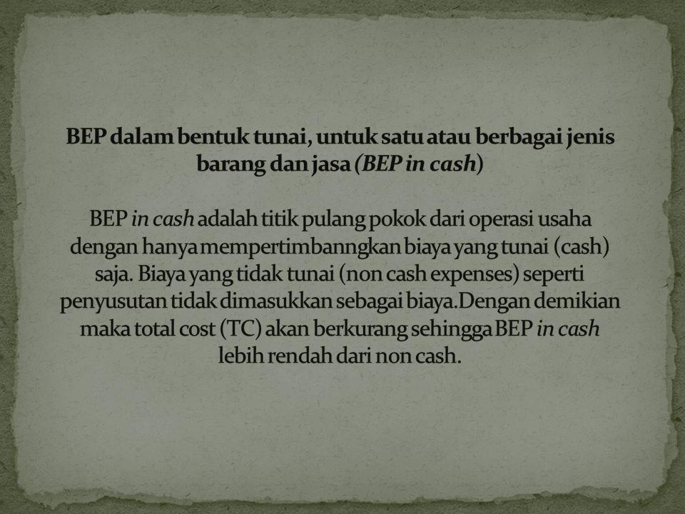 BEP multi produk adalah titk pulang pokok untuk perusahaan yang memproduksi berbagai jenis barang dan jasa. Rumus : BEP Multi = TFC CMP t CMP t = Kete