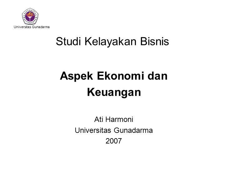 Universitas Gunadarma Studi Kelayakan Bisnis Aspek Ekonomi dan Keuangan Ati Harmoni Universitas Gunadarma 2007