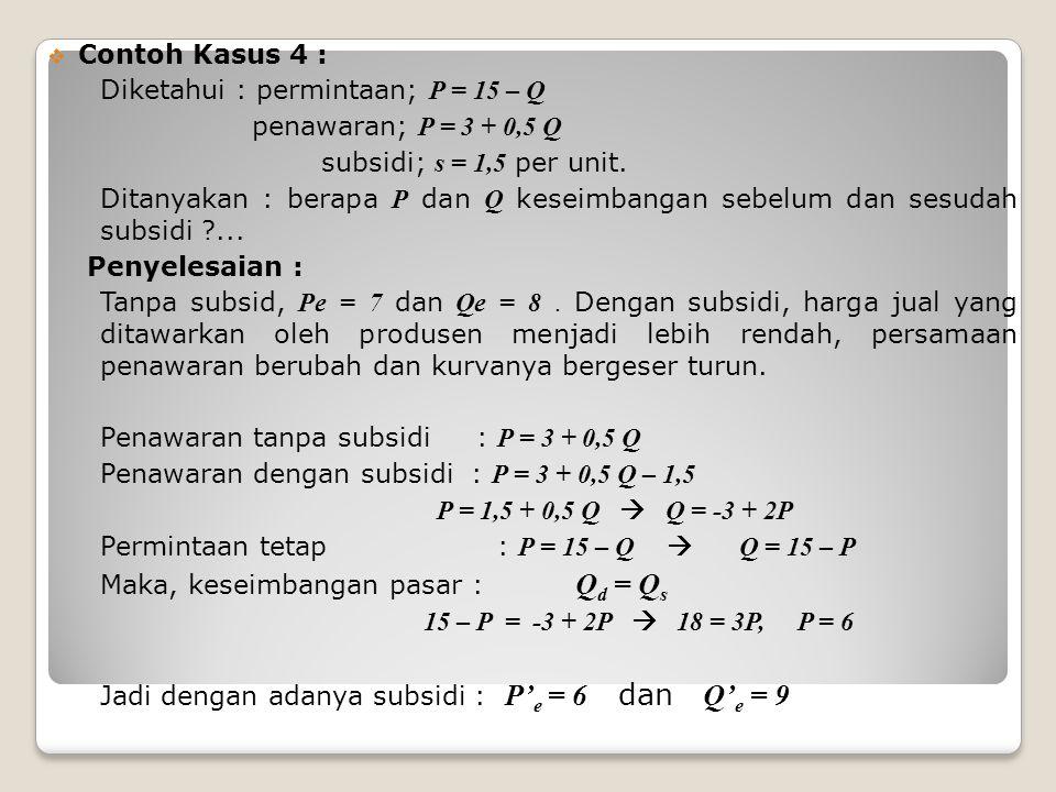  Contoh Kasus 4 : Diketahui : permintaan; P = 15 – Q penawaran; P = 3 + 0,5 Q subsidi; s = 1,5 per unit.