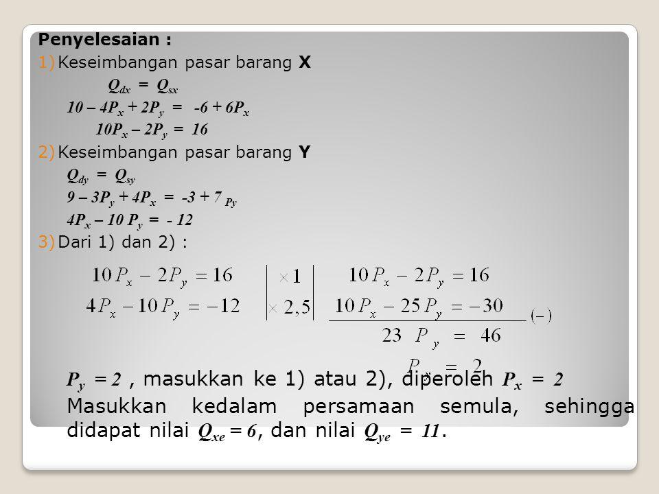 Penyelesaian : 1)Keseimbangan pasar barang X Q dx = Q sx 10 – 4P x + 2P y = -6 + 6P x 10P x – 2P y = 16 2)Keseimbangan pasar barang Y Q dy = Q sy 9 – 3P y + 4P x = -3 + 7 Py 4P x – 10 P y = - 12 3)Dari 1) dan 2) : P y = 2, masukkan ke 1) atau 2), diperoleh P x = 2 Masukkan kedalam persamaan semula, sehingga didapat nilai Q xe = 6, dan nilai Q ye = 11.
