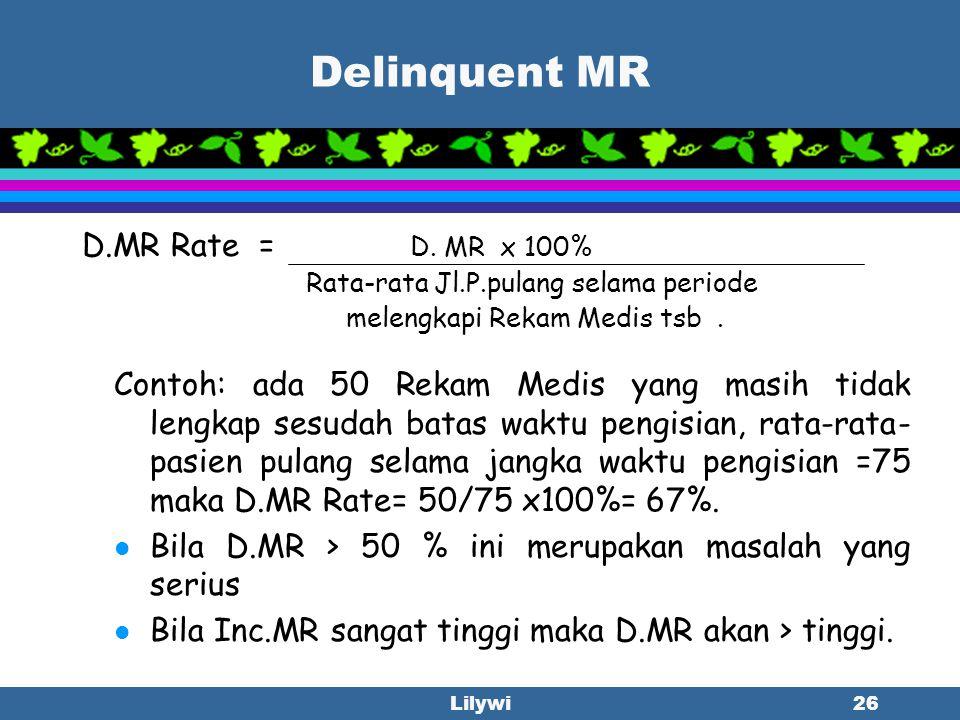 Lilywi25 Incomplete MR Inc.MR Rate= Inc.MR x 100% Jl.P.pulang selama periode melengkapi Rekam Medis tsb. Contoh: Jumlah pasien pulang =75 orang, sesud