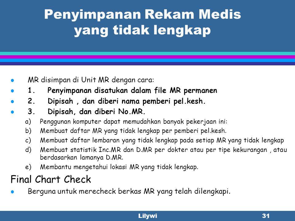 Lilywi30 Cara Melengkapi Pencatatan yang tidak lengkap dari Rekam Medis l Fasilitas Pel.Kesh. mempunyai beberapa cara agar berkas MR tsb dapat dilengk