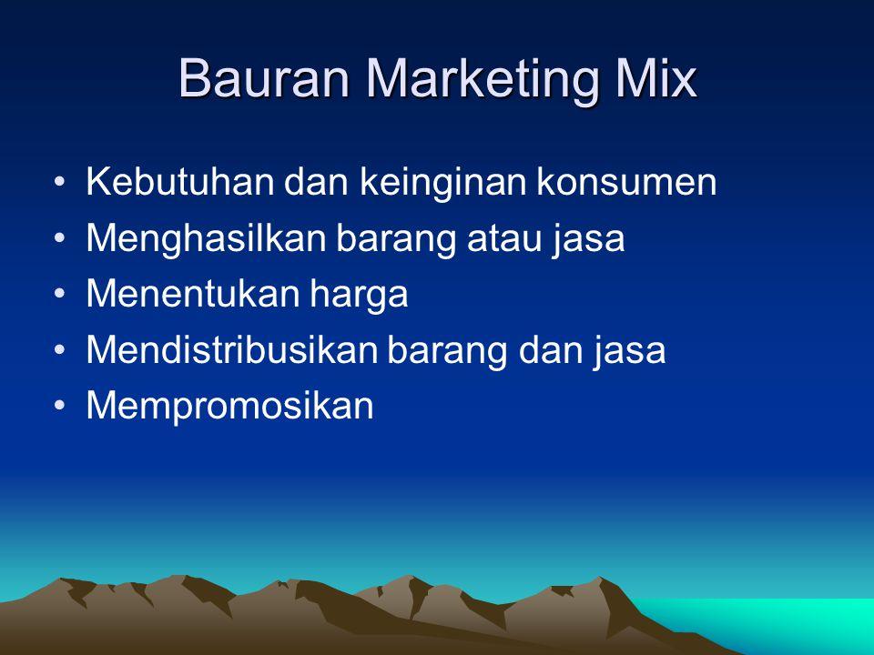 Bauran Marketing Mix Kebutuhan dan keinginan konsumen Menghasilkan barang atau jasa Menentukan harga Mendistribusikan barang dan jasa Mempromosikan