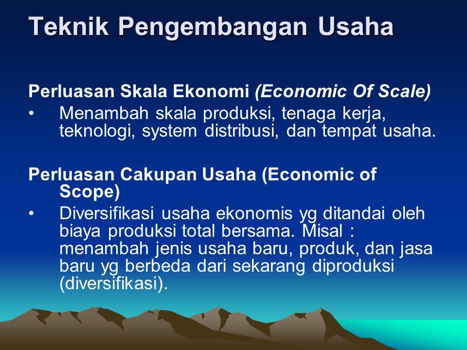 Teknik Pengembangan Usaha Perluasan Skala Ekonomi (Economic Of Scale) Menambah skala produksi, tenaga kerja, teknologi, system distribusi, dan tempat