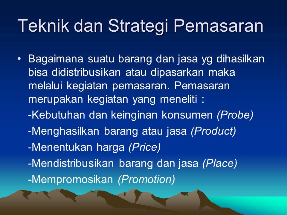 Teknik dan Strategi Pemasaran Bagaimana suatu barang dan jasa yg dihasilkan bisa didistribusikan atau dipasarkan maka melalui kegiatan pemasaran. Pema