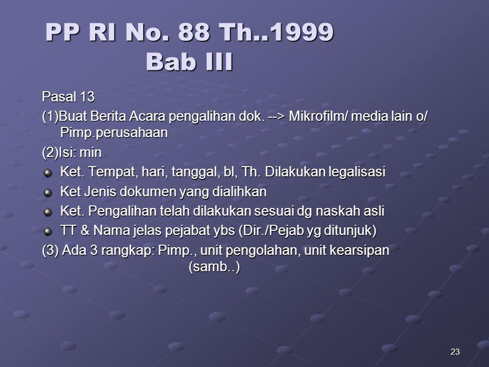 22 PP RI No. 88 Th..1999 BAB II Bab II. Psl10 1. Menjamin hasil = naskah/ dok. asli yang dialihkan 2. -a. Wajib menjamin sesuai asli -b.mikrofilm/ med