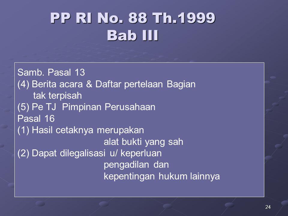 23 PP RI No. 88 Th..1999 Bab III Pasal 13 (1)Buat Berita Acara pengalihan dok. --> Mikrofilm/ media lain o/ Pimp.perusahaan (2)Isi: min Ket. Tempat, h