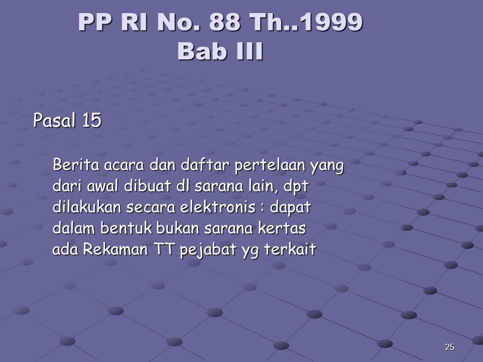 24 PP RI No. 88 Th.1999 Bab III Samb. Pasal 13 (4) Berita acara & Daftar pertelaan Bagian tak terpisah (5) Pe TJ Pimpinan Perusahaan Pasal 16 (1) Hasi