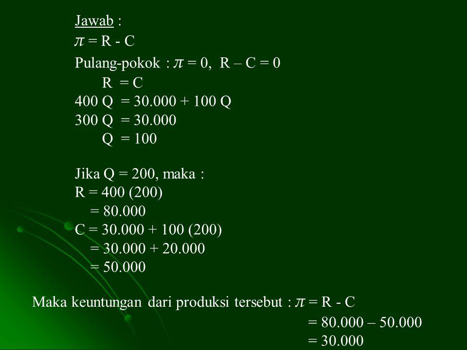 Jawab : π = R - C Pulang-pokok : π = 0, R – C = 0 R = C 400 Q = 30.000 + 100 Q 300 Q = 30.000 Q = 100 Jika Q = 200, maka : R = 400 (200) = 80.000 C =