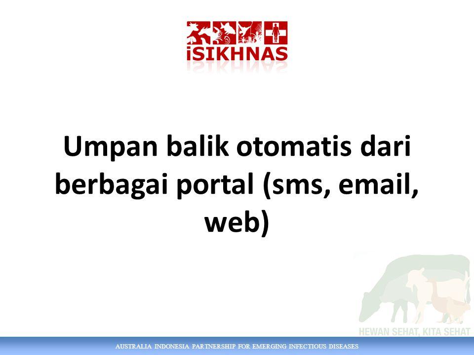 AUSTRALIA INDONESIA PARTNERSHIP FOR EMERGING INFECTIOUS DISEASES Umpan balik otomatis dari berbagai portal (sms, email, web)