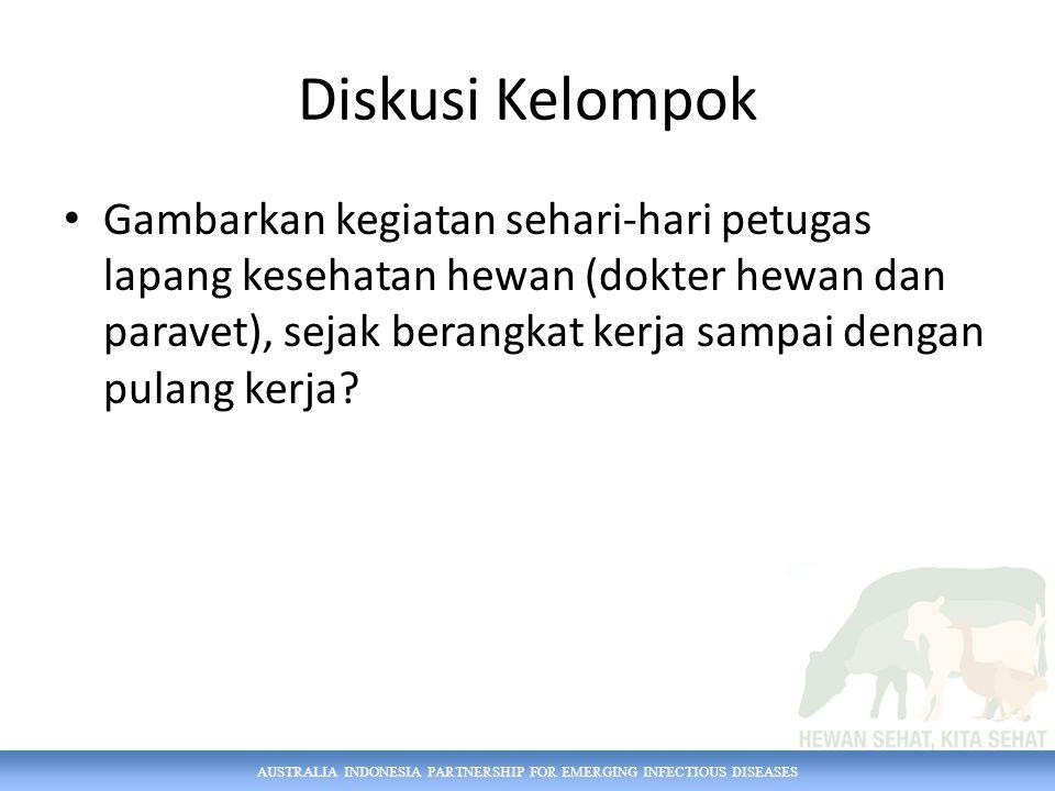 AUSTRALIA INDONESIA PARTNERSHIP FOR EMERGING INFECTIOUS DISEASES Diskusi Kelompok Gambarkan kegiatan sehari-hari petugas lapang kesehatan hewan (dokte