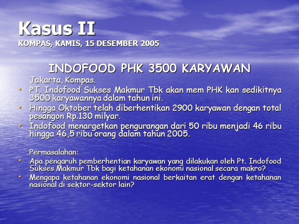 Kasus II KOMPAS, KAMIS, 15 DESEMBER 2005 INDOFOOD PHK 3500 KARYAWAN Jakarta, Kompas. PT. Indofood Sukses Makmur Tbk akan mem PHK kan sedikitnya 3500 k