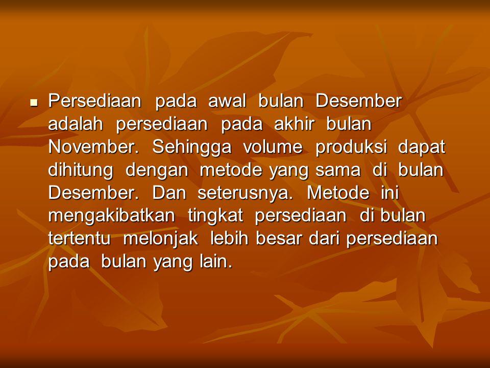 Persediaan pada awal bulan Desember adalah persediaan pada akhir bulan November.