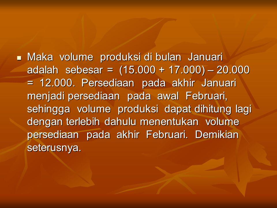 Maka volume produksi di bulan Januari adalah sebesar = (15.000 + 17.000) – 20.000 = 12.000.