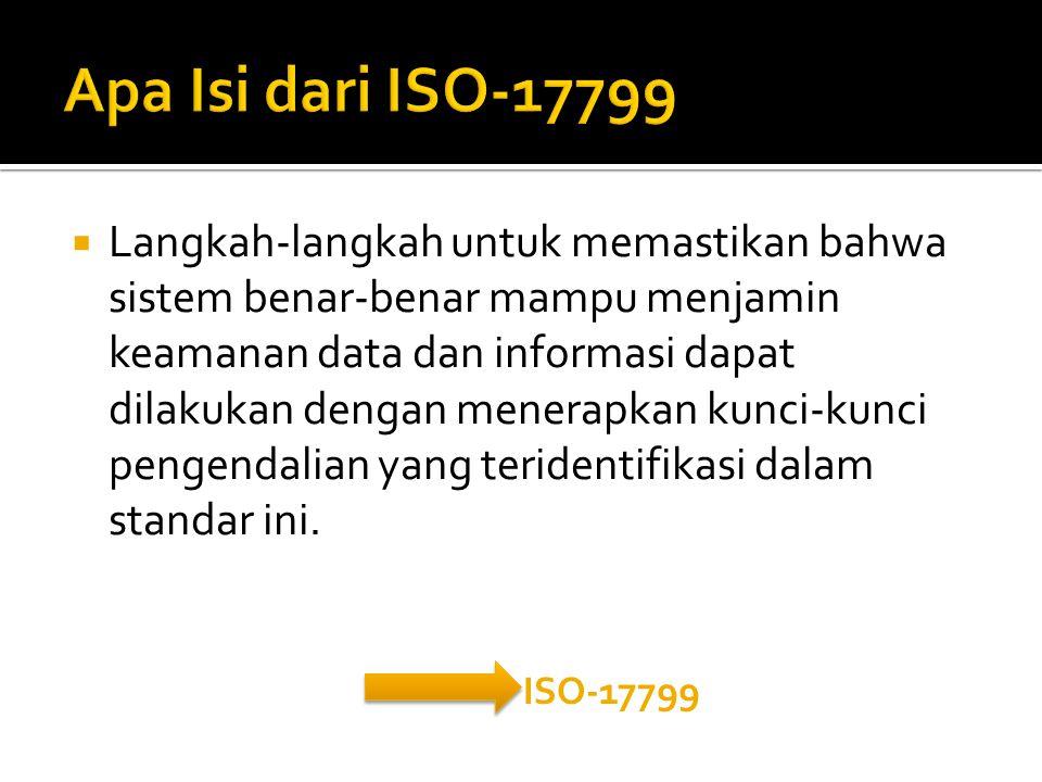  Langkah-langkah untuk memastikan bahwa sistem benar-benar mampu menjamin keamanan data dan informasi dapat dilakukan dengan menerapkan kunci-kunci pengendalian yang teridentifikasi dalam standar ini.