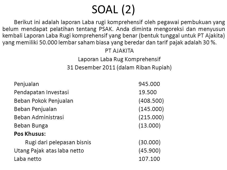 SOAL (2) Berikut ini adalah laporan Laba rugi komprehensif oleh pegawai pembukuan yang belum mendapat pelatihan tentang PSAK.