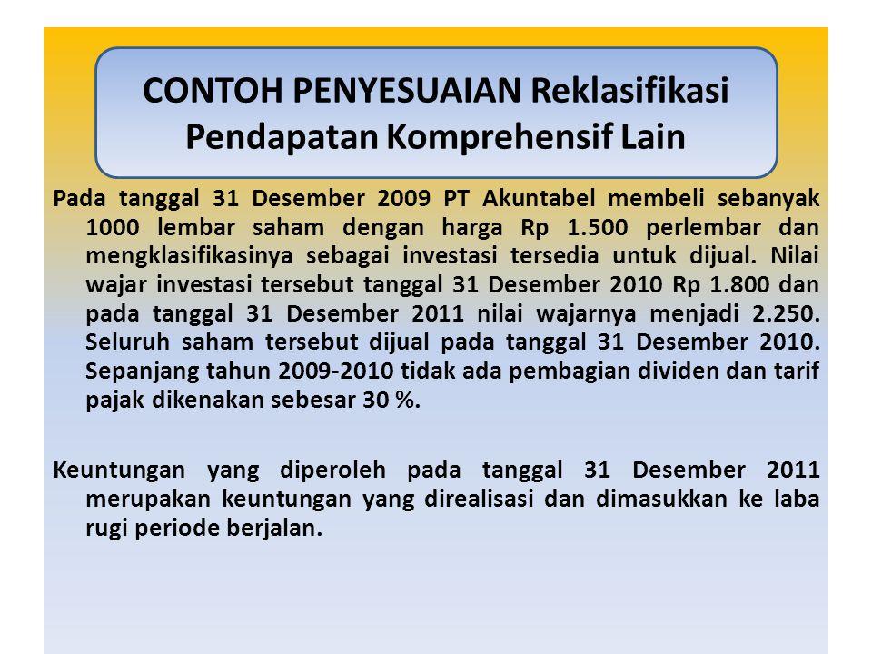 Pada tanggal 31 Desember 2009 PT Akuntabel membeli sebanyak 1000 lembar saham dengan harga Rp 1.500 perlembar dan mengklasifikasinya sebagai investasi