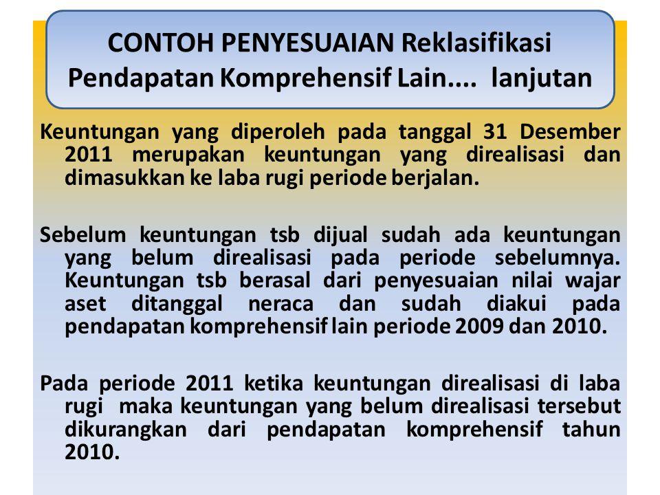 Keuntungan yang diperoleh pada tanggal 31 Desember 2011 merupakan keuntungan yang direalisasi dan dimasukkan ke laba rugi periode berjalan. Sebelum ke