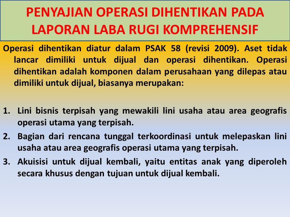 Operasi dihentikan diatur dalam PSAK 58 (revisi 2009). Aset tidak lancar dimiliki untuk dijual dan operasi dihentikan. Operasi dihentikan adalah kompo