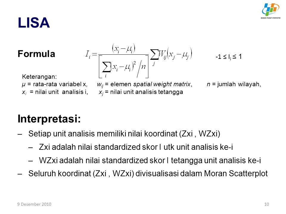 9 Desember 201010 LISA Interpretasi: –Setiap unit analisis memiliki nilai koordinat (Zxi, WZxi) –Zxi adalah nilai standardized skor I utk unit analisi