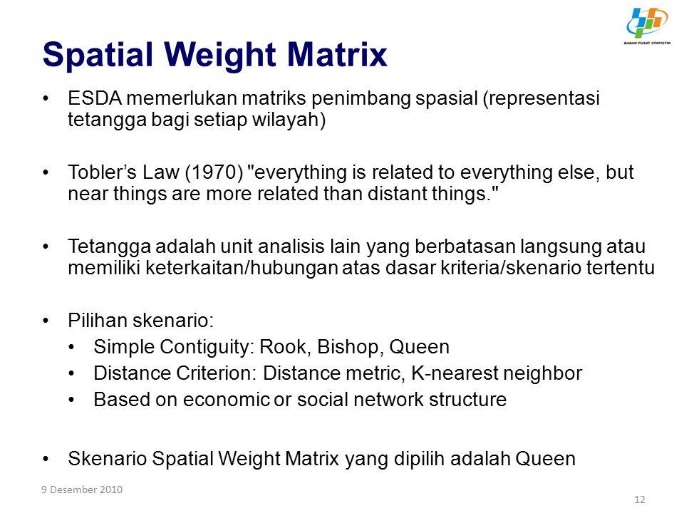 9 Desember 2010 12 Spatial Weight Matrix ESDA memerlukan matriks penimbang spasial (representasi tetangga bagi setiap wilayah) Tobler's Law (1970)