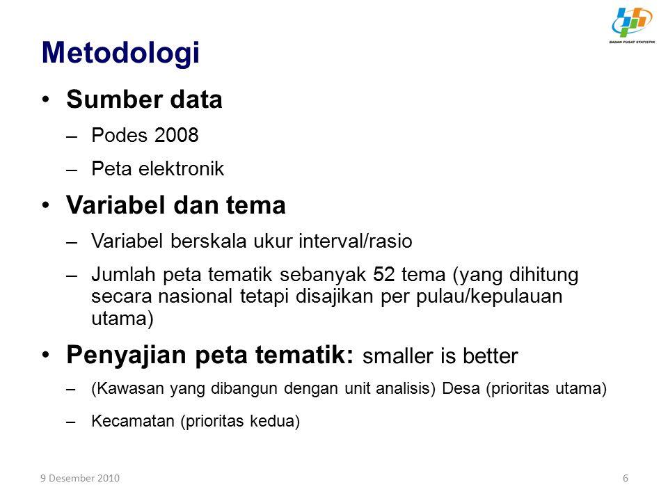9 Desember 20106 Metodologi Sumber data –Podes 2008 –Peta elektronik Variabel dan tema –Variabel berskala ukur interval/rasio –Jumlah peta tematik seb