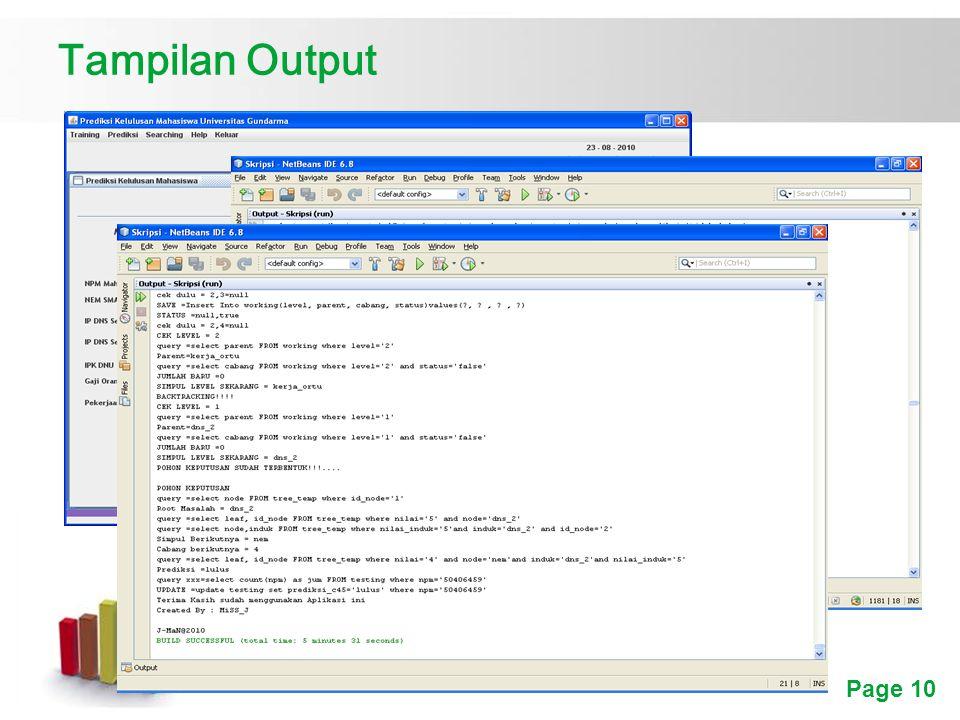 Page 10 Tampilan Output