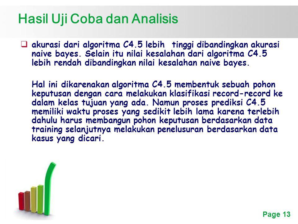 Page 13 Hasil Uji Coba dan Analisis  akurasi dari algoritma C4.5 lebih tinggi dibandingkan akurasi naive bayes.