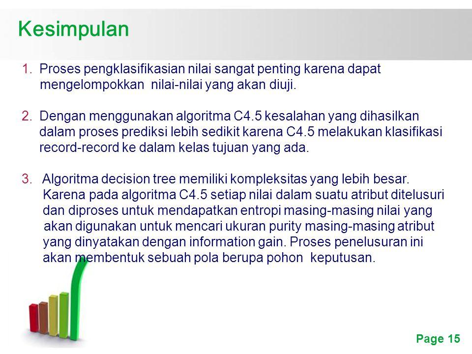 Page 15 Kesimpulan 1.Proses pengklasifikasian nilai sangat penting karena dapat mengelompokkan nilai-nilai yang akan diuji.