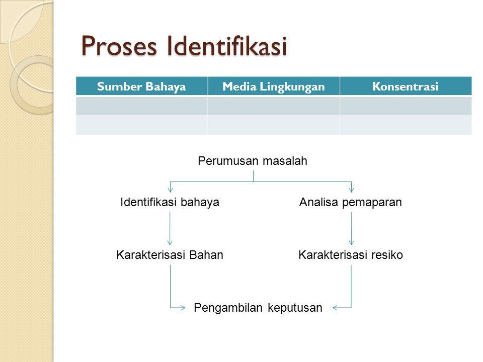 Proses Identifikasi Sumber BahayaMedia LingkunganKonsentrasi Perumusan masalah Identifikasi bahayaAnalisa pemaparan Karakterisasi BahanKarakterisasi r