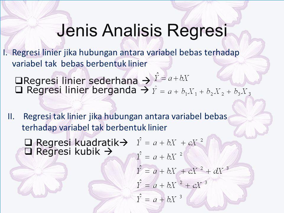 Jenis Analisis Regresi I.Regresi linier jika hubungan antara variabel bebas terhadap variabel tak bebas berbentuk linier II.