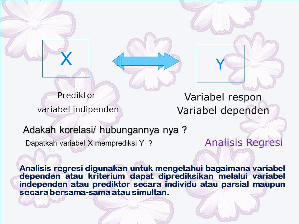 X Analisis regresi digunakan untuk mengetahui bagaimana variabel dependen atau kriterium dapat diprediksikan melalui variabel independen atau prediktor secara individu atau parsial maupun secara bersama-sama atau simultan.