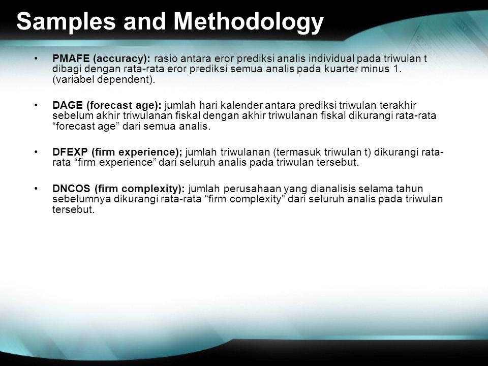 Samples and Methodology PMAFE (accuracy): rasio antara eror prediksi analis individual pada triwulan t dibagi dengan rata-rata eror prediksi semua analis pada kuarter minus 1.