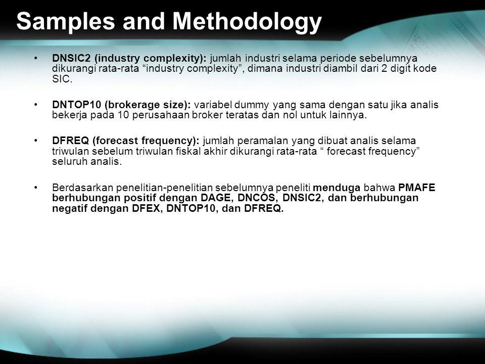 Samples and Methodology DNSIC2 (industry complexity): jumlah industri selama periode sebelumnya dikurangi rata-rata industry complexity , dimana industri diambil dari 2 digit kode SIC.