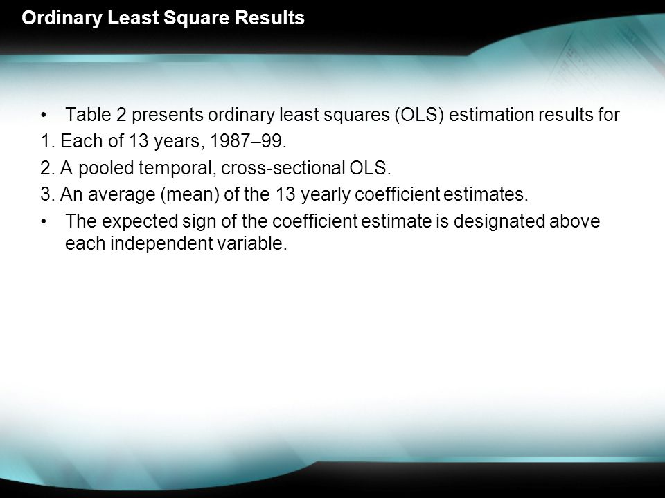 Ordinary Least Square Results Table 2 presents ordinary least squares (OLS) estimation results for 1.