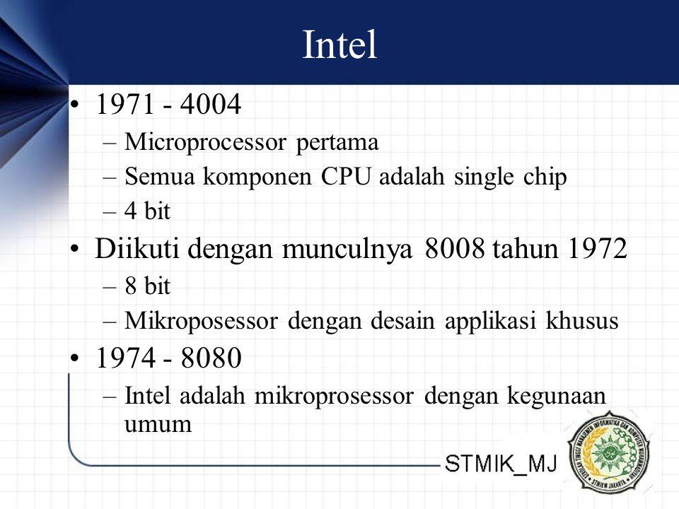 Intel 1971 - 4004 –Microprocessor pertama –Semua komponen CPU adalah single chip –4 bit Diikuti dengan munculnya 8008 tahun 1972 –8 bit –Mikroposessor