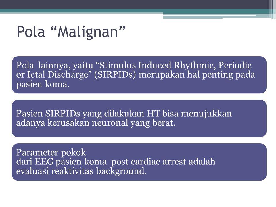 "Pola ""Malignan"" Pola lainnya, yaitu ""Stimulus Induced Rhythmic, Periodic or Ictal Discharge"" (SIRPIDs) merupakan hal penting pada pasien koma. Pasien"